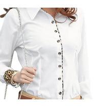 Camisa Social Feminina - Branca Onça Punhos