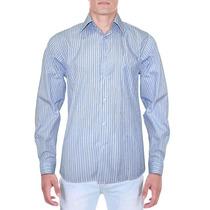 Camisa Social Fatto A Mano Azul Listrada 1301033