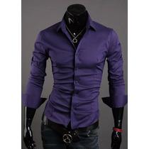 Atacado Kit 5 Camisas Sociais Slim Fit Masculinas Lisas