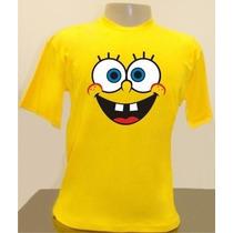 Camiseta Ou Baby Look Bob Esponja Feliz, Adulto E Infantil