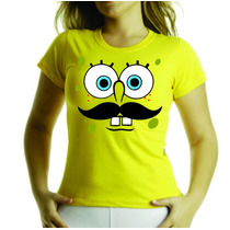 Camiseta Ou Baby Look Infantil Bob Esponja Bigode