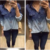 Camisa Blusa Jeans Degrade Feminina - Preço Atacado