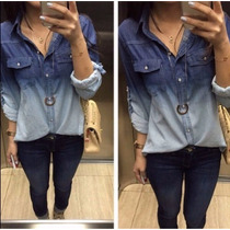 Camisa Blusa Jeans Degrade Feminina Manga Longa - Barato