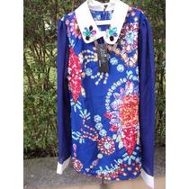 Camisa Blusa Retro Pedras Mang Comprida Importada Crepe Seda