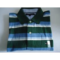 Camisa Polo Tommy Hilfiger Masc Gg Listrada Azu/bran/verde