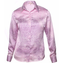 Camisa Feminina Tessa - Cetim C/ Elastano - Pimenta Rosada