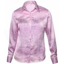 Camisa Blusa Feminina Roxa Cetim C/ Elastano Pimenta Rosada