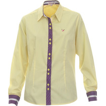Camisa Social Amarela Feminina Leslie - Pimenta Rosada