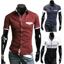 Camisa Slim Fit Manga Curta Importada Frete Grátis150 Modelo