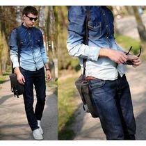 Camisa Jeans Masculina Degrade Caimento Otimo Pronta Entrega