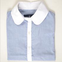 Camisa Listrada Feminina Gola Branca Green Grass