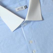 Camisa Social Algodão Maquinetada Gola Branca 50 1011