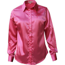 Camisa Feminina Antonella - Cetim C/ Elastano-pimenta Rosada