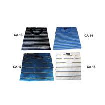 Kit Camiseta Gola Careca Canoa 5 Un.malha Listrada P M G Gg