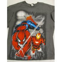 Camisa Homem Aranha & Homem De Ferro - Importada - Grande