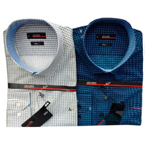 Camisa Social Masculina Aramis Estampada 02 Azul Escuro