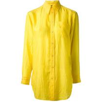 Camisa Feminina Amarela Com Renda. Bolsos. Tamanho P. Nova!!