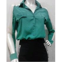 Camisa Feminina Social Microfibra Detalhes Em Tule