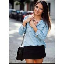 Camisa Social Jeans Feminina Lisa Estampada Importada