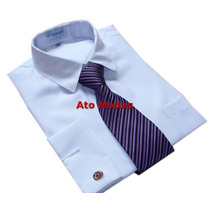 Camisa Social Masculina Punho Duplo P/ Abotoaduras Branca
