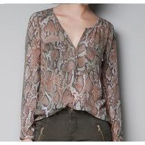 Camisa Blusa Chiffon Animal Print Cobra Importada - Estoque