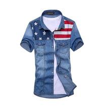 Camisa Jeans American Manga Curta Pronta Entrega