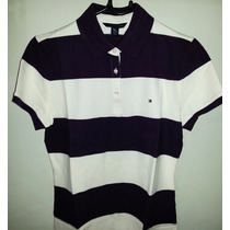 Camisa Tommy Polo Feminina Preta / Verde E Creme Listras.