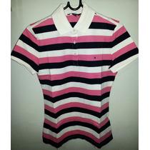 Camisa Tommy Polo Feminina Azul Rosa E Creme Tm G Importada.