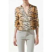 Camisa Blusa Chifon Animal Print Tigre Pronta Entrega