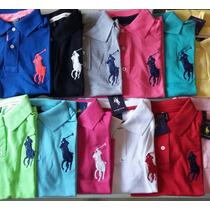 Blusa Camisa Gola Polo Feminina Kit 4 Peças Jockey Bordado