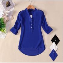 Camisa Blusa Feminina Chiffon Seda Importada Frete Grátis