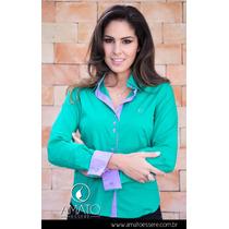 Camisa Bicolor Verde E Lilás