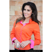Camisa Bicolor Laranja E Pink - 1003