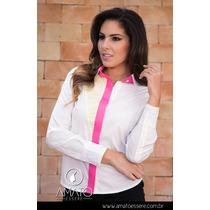Camisa Social Geométrica Bicolor Amarela E Pink