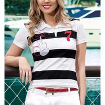 Camisa Polo Feminina Branca E Azul Marinho Com Estampa
