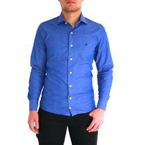 Camisa Social Azul Fio 100( Pronta Entrega) Manga Longa