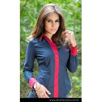 Camisa Social Bicolor Azul E Vermelho
