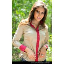 Camisa Bicolor Areia E Vermelho - 1019