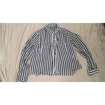 Camisa Azul E Branca Listras Farm Transparencia M