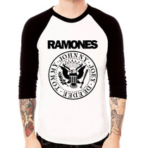 Camiseta Raglan 3/4 Ramones - Unissex