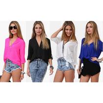 Camisa Blusa Social Feminina Com Decote Em V