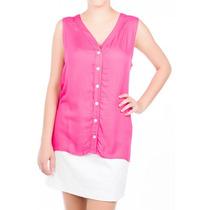 Camisa Regata Em Viscose Pink Com Maxi Decote Nas Costas