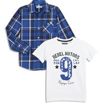 Camisa Infantil + Camiseta - Importados - Pronta Entrega