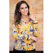 Camisa Social Estampada Floral Azul E Amarelo