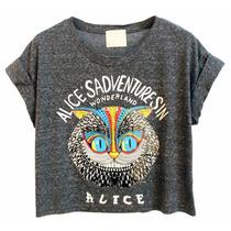 Cropped Camisa Blusa Alice Wonderland País Das Maravilhas
