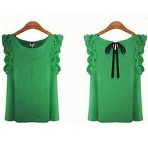Camisa Blusa Sem Manga Verde Babado Laço Pronta Entrega