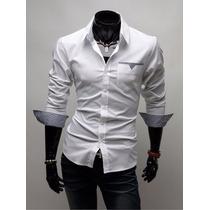 Camisa Social Slim Fit Manga Longa Importada Camiseta 2015