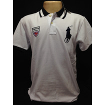 Camiseta Polo Ralph Lauren Branco Big Poney Azul Tam M
