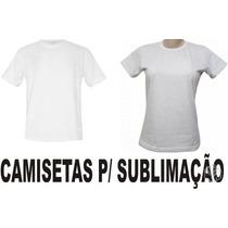 Camisa Branca Para Sublimação 100% Poliéster, Gola Careca