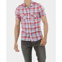 Camisa Xadrez Masculina Bucannes Vermelha E Azul Slim Fit